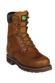 "Men's John Deere Work Boots @ HeadWest! 8"" Lacer Golden Tan Soft Toe Work Boots"