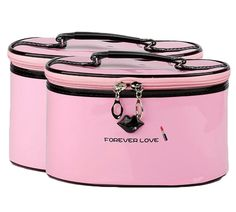 HOYOFO 2 Pcs Waterproof Cosmetic Bag Set PU Leather Make Up and Cosmetics Organizers with Handle Different Sizes Makeup Bags,Pink * More info could be found at the image url. (Note:Amazon affiliate link) #Makeuporganization