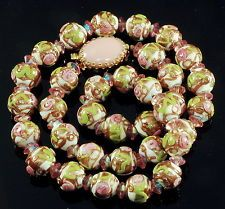 VTG 40'S MURANO VENETIAN WEDDING CAKE GLASS CHAINED BEAD NECKLACE