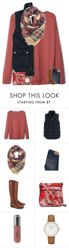 """""""fall vibes """" by madelinelurene ❤ liked on Polyvore featuring MANGO, J.Crew, Hollister Co., Tory Burch, Vera Bradley, Revlon and CLUSE"""