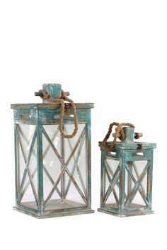 Rustic Wood Lantern | Rustic Wooden Lanterns - Set of Two on HauteLook