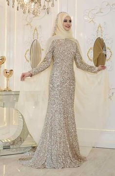 Silvery Hijab Evening Dress Models www. Hijab Prom Dress, Hijab Evening Dress, Evening Dresses, Dress Outfits, Muslim Wedding Dresses, Bridal Dresses, Elegant Dresses, Beautiful Dresses, New Designer Dresses