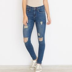 High Waisted Distressed Jeans Jeggings that are high waisted. Worn and washed once. Fit like a size 9. Equivalent to a size 8 in American eagle jeans. Or a size 28/29 in pacsun bullhead jeans. You know your size. Mint condition. Classic and very popular look right now. The perfect ripped jeans. Stretch. From garage, not American eagle. American Eagle Outfitters Jeans Skinny