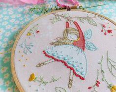 Embroidery Kit, Hand embroidery, Flying Fairy, Fairy nursery, Christmas gift for her, Girl gift ideas, Craft kits girls, Hoop art, Diy kit