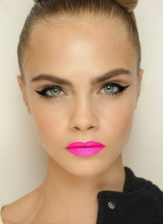 Update the punk look with winged black liner and a hot, hot pink pout. We think Debbie Harry would approve! #inspiration