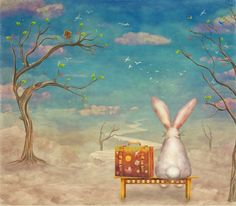Buy Sad rabbit  with suitcase sitting on the bench on the cloud in sky  Art Print by natalia.maroz. Worldwide shipping available at Society6.com. Just one of millions of high quality products available.