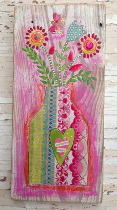 Shabby chic Pink Floral Mixed Media on Etsy, $56.00