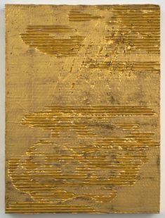 Nancy Lorenz, Red Gold, Cardboard II, 2013 - red gold, gesso, clay, cardboard, on panel