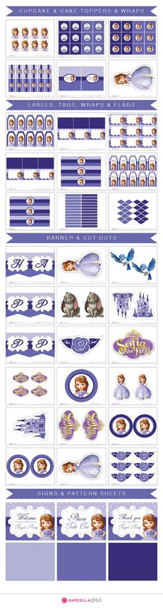 Sofia The First Birthday, Sofia The First Invitation, Thank you Card, Cupcake toppers, Banner, Labels, Wraps, Centerpieces, Candy Wraps, Water Bottle Wraps, Signs and much More!