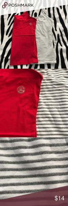 Aero Cami Bundle Two camis from Aeropostale. One solid red and one white with grey and silver stripes. Both size XL. Red is NWT, white striped is NWOT. Straps are not adjustable. Aeropostale Tops