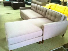 Rosa Beltran Design {Blog}: TALES FROM THE FACTORY FLOOR custom grey gray tweed mid-century mid century midcentury couch modern sofa tufted wood legs light furniture made in los angeles flexible sectional reversible chaise linen