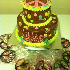 Chocolate peace sign cake