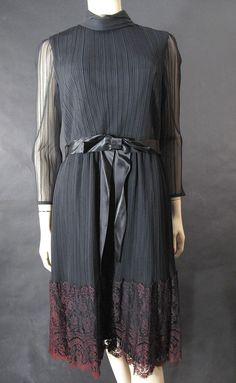 1970's Miss Elliette Pleated Black Chiffon & Red Lace Cocktail Dress from marzillivintage on Ruby Lane $120    Sale starts Sat Jan 12 8:00 AM, ends Sun Jan 13 8:00 AM Pacific Time. This item will be 50% off the price above during the Sale!