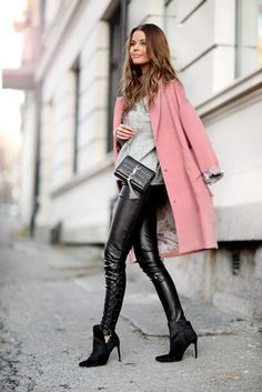 Colourful Coats Fashion: Annette Haga is wearing a pink coat from Vivikes