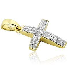 14K Yellow Gold Cross Pendant 0.5cttw Diamonds Princess Cut Small Cross 23mm Tall (i2/i3, i/j)