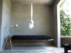 Daybed swing at Casa Redonda, Puerto Rico Hanging Beds, Diy Hanging Shelves, Mirror Hanging, Hanging Chairs, Mirror Shelves, Storage Mirror, Bathroom Storage, Indoor Swing, Hammock Swing
