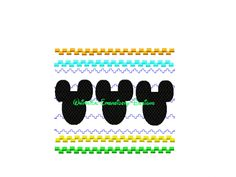 Mickey Mouse Faux Smocked 3 Heads Machine Embroidery Applique Design INSTANT DOWNLOAD