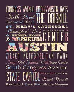 Austin Texas Typography Poster / Bus  / Subway