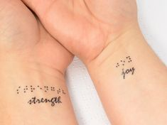 This listing is for one set of three temporary braille tattoos. These tattoos apply easily, and last for approximately a day or two, depending on
