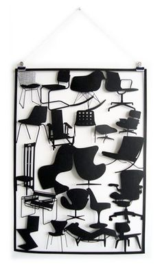 """""""Chairs"""" Limited edition laser cut artwork, featuring Eames, Corbusier and Wassily."""