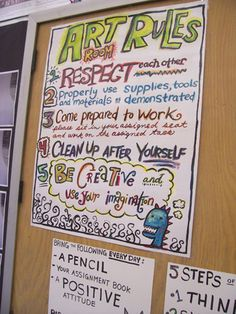 Found on Flicker--posted by stefanimak     Great idea for a rules poster--so creative and lively...definitely how I want to portray my classroom.  Definitely inspiring.