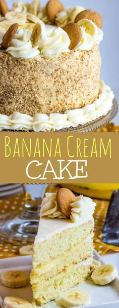 Add bananas in between layers Utterly delicious this Banana Cream Cake is layered with banana pudding and sweet buttercream making this cake a great option to satisfy your sweet tooth!BANANA CREAM CAKE Recipes Food community kitchen and home products Mini Desserts, Just Desserts, Delicious Desserts, Dessert Recipes, Pudding Desserts, Recipes Dinner, Drink Recipes, Keto Desserts, Food Cakes