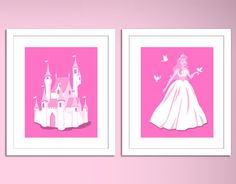 Disney Princess Inspired childrens art prints, Pick any Two -custom colors- girls room nursery bedroom wall art size 8x10