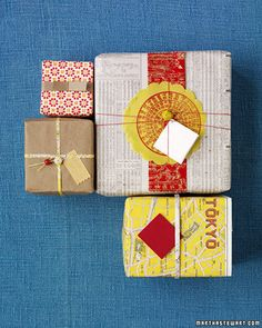 Easy to find and work with, vintage and repurposed papers add pop to presents. Layer several colors and textures, or add vintage beads for a finished look.Clockwise from top left we used: Vintage wallpaper; Chinese newspaper topped with colored paper; recycled map; grocery bag with Japanese beads.