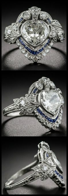 Vintage Jewelry All views of an antique sapphire and diamond ring with a carat heart shaped center diamond. At Lang Antiques. - I don't always love heart-shaped diamonds, but the one in this Edwardian sapphire and diamond ring made my jaw drop. Sapphire Jewelry, Sapphire Earrings, Diamond Jewelry, Diamond Rings, Sapphire Diamond, Emerald Rings, Solitaire Rings, Ruby Rings, Green Sapphire
