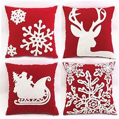 (45cm) Red Canvas Cotton Decorative Embroidery Throw Pillow Covers Cushion Pillowcase #Affiliate