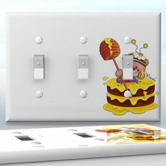 DIY Do It Yourself Home Decor - Easy to apply wall plate wraps | Honey Cake Bear  Cute Bear eating cake  wallplate skin sticker for 3 Gang Toggle LightSwitch | On SALE now only $5.95
