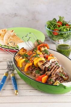 These skewers are ideal for BBQ season, using marinated beef steaks and paired with a fresh herb sauce for the perfect combo. Easy Steak Recipes, Skewer Recipes, Lamb Recipes, Beef Sirloin, Beef Steaks, Steak Skewers, Chimichurri Sauce Recipe, Grilled Flatbread, Marinated Beef