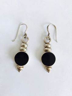 2f4546e09 Classic Black Onyx and Sterling Silver Drop Earrings, Handcrafted Bezel Set  Onyx in Sterling Silver