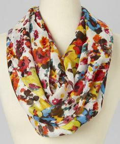 Look what I found on #zulily! White & Yellow All Over Floral Infinity Scarf #zulilyfinds