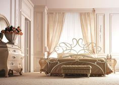 "CHAP 10: This Italian design of a bed demonstrates ""Letti Romantici"" which is the Letti style of the Italian Renaissance. Unlike the havily curtained beds of northern Europe, Italian beds, or Letti, has little, if any, drapery."
