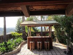 Cali Bamboo Fencing used as Tiki Bar roofing - Love this clever look!  http://www.calibamboo.com/bamboofencing.html