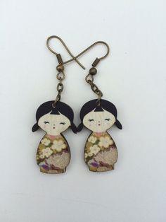 Wooden doll earrings  kokeshi  purple flower by ciutecreations