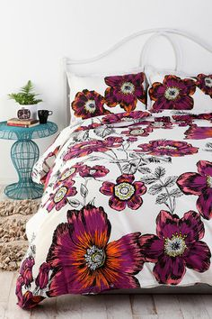 Urban Outfitters Sketchbook Floral Duvet Cover Full Queen Bedding | eBay
