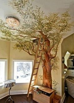 Big tree wall mural with a ladder going up to a loft or secret space. Excellent idea for a boys room...or any kids room. Great imagination! Amazing wall painting.