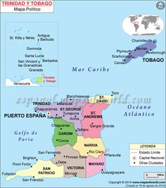 Map of Trinidad and Tobago Wake Island, Island Life, Santa Lucia, Santa Barbara, Plymouth, Cuba, Trinidad Y Tobago, Federated States Of Micronesia, Port Of Spain