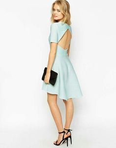 Enlarge ASOS Skater Dress in Texture With Cut Out Back Out Back e6c468612