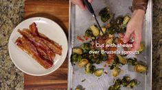 """I could eat this side dish as a meal, mainly because I love, love, love bacon. I should have named my son """"Kevin Bacon."""" These Brussels sprouts are one of my. Kevin Bacon, Sprouts With Bacon, Brussels Sprouts, Side Dishes, Roast, Meals, Recipes, Blog, Meal"""