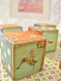 Luv these boys vintage cowboy blocks! Vintage Cowboy Nursery, Vintage Baby Boys, Vintage Children, Vintage Toys, Wooden Baby Blocks, Baby Lane, Shabby Chic Theme, Baby Sheets, Make Do And Mend