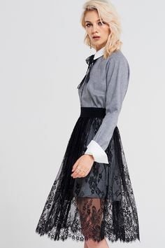 Blanche Lace Mesh Skirt Discover the latest fashion trends online at storets.com #fashion #lace #meshskirt #skirts #storetsonme