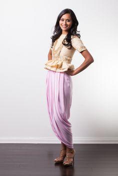Peplum dhoti set with blush skirt & gold embroidered peplum blouse Estimated shipping: weeks Blush Skirt, Designer Punjabi Suits, Full Skirt Dress, Peplum Blouse, Indian Outfits, Indian Clothes, Indian Girls, Indian Fashion, Harem Pants