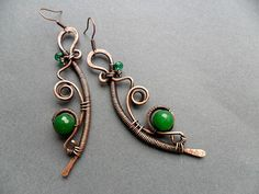 Copper Wire wrapped earrings with green jade, Antique copper earrings, Wire wrapped jewelry, Copper wire earrings, Handmade earrings womens by BoBoWorlds on Etsy https://www.etsy.com/listing/272586412/copper-wire-wrapped-earrings-with-green