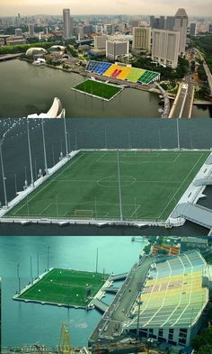 Floating soccer field... This is seriously the coolest thing ever! But what happens if there is a really, REALLY high kick and the ball lands in the water???