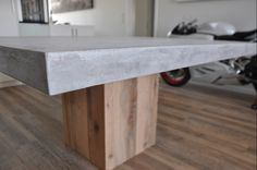 Outdoor dining table, custom made, concrete and solid chestnut, outdoor living, greek style Dining Tables, Outdoor Dining, Outdoor Decor, Solid Wood, Concrete, Greek, Iron, Indoor, Outdoor Furniture