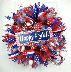 Deco Mesh Patriotic Wreath 4th of July by SouthernCharmWreaths, $127.87