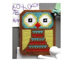 Owl Fridge Magnet Plastic Canvas Kit. $19.00, via Etsy.